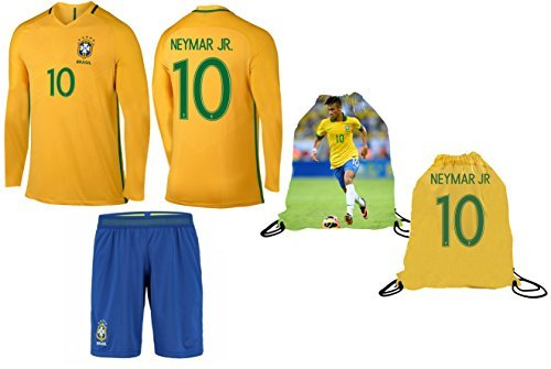 Neymar Jersey Brazil Home Long Sleeve Kids Soccer Jersey Neymar Jr Gift Set Youth Sizes ✓ Soccer Backpack Gift Packaging (Youth Large 10-13 Years Old)
