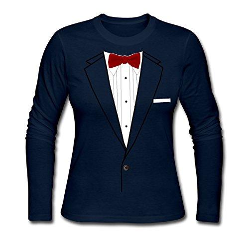 [Costume Tuxedo Suit Women's Long Sleeve Jersey T-Shirt by Spreadshirt, M, navy] (Womens Tuxedo Costumes Tshirt)