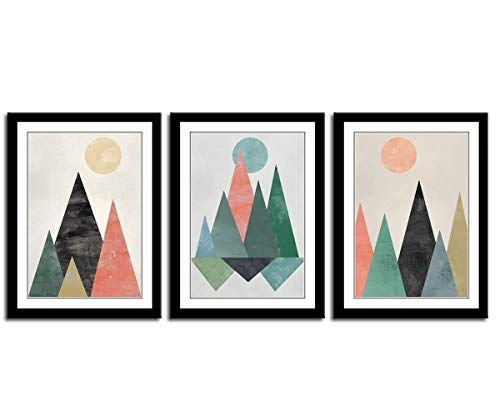 (Canvas Wall Art Abstract Triangles With Black Frames Sunset Sunrise Geometry Mountain Canvas Picture Artwork for Bedroom Living Room Bathroom Kitchen Wall Decor 12
