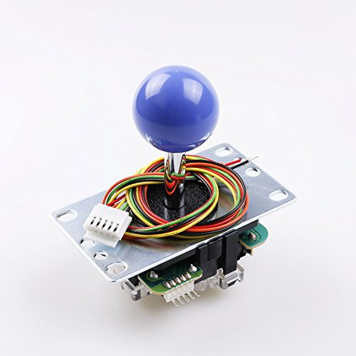 (SANWA JLF-TP-8YT Dark Blue Ball Top Handle Arcade Joystick 4 & 8 Way Adjustable, Hori Fight Stick Repair Part (Mad Catz SF4 Tournament Joystick Compatible) - Dark Blue)