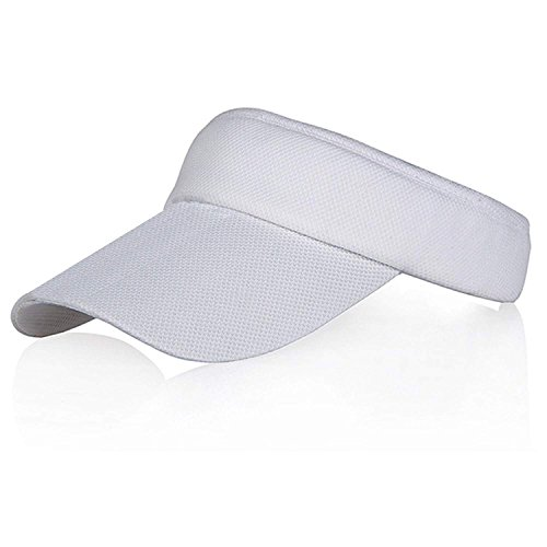 White Sun Visors for Girls and Women, Long Brim Thicker Sweatband Adjustable Hat for Golf Cycling Fishing Tennis Running Jogging Sports