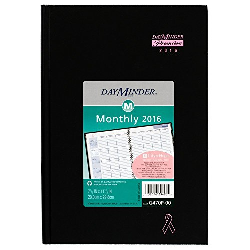 DayMinder Monthly Planner 2016, Premiere, Breast Cancer Awareness, Pink Ribbon, 7.88 x 11.88 Inches, Black (G470P-00)