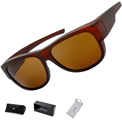 The Fresh High Definition Polarized Wrap Around Sunglasses for Prescription Glasses 66mm Gift Box (6-Matte Brown, Brown) (Best Prescription Sunglasses Reviews)