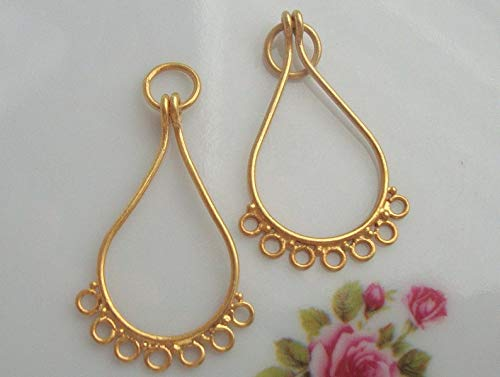 6 pcs,31x17x1mm, Bali 24K Vermeil Sterling Silver Teardrop with 7 Circles Loops, Links Chandelier Earring Finding, Pendant Connector,CC-0005