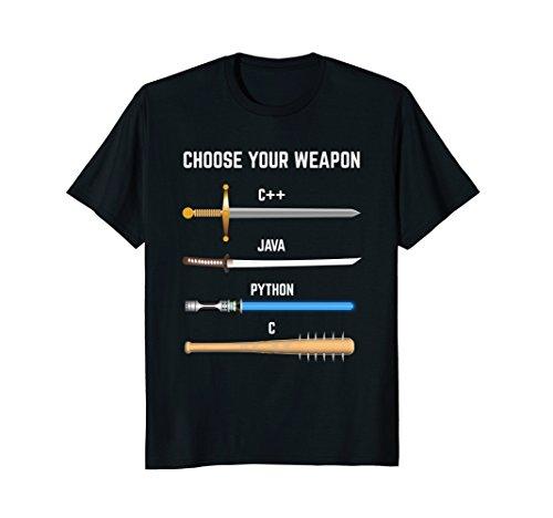 Mens Funny Programmer Choose Your Weapon T-Shirt Gift For Devs Medium Black