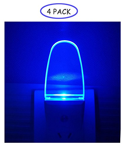 4 Pack Night Light Lamp with Dusk to Dawn Sensor, Plug in, Blue Led Night Light by Reminda