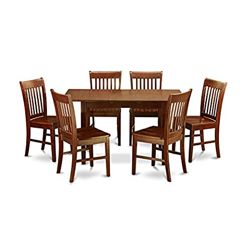 East West Furniture NOFK7-MAH-W 7-Piece Kitchen Table Set - Extendable Dining Table Set