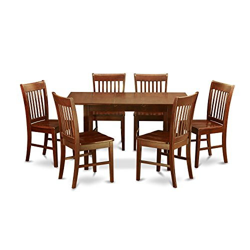 East West Furniture NOFK7-MAH-W 7-Piece Kitchen Table