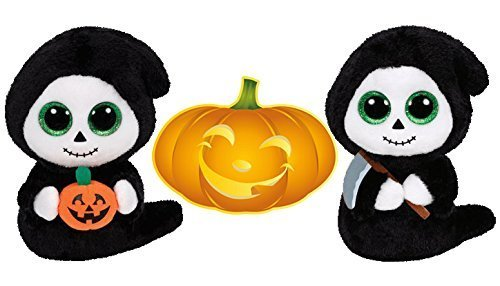 Ty Beanie Boos Halloween Ghosts GRIMM with Scythe and TREATS with Pumpkin Set of 2 Scary Friends with Bonus Pumpkin Sticker by Ty Beanie (Halloween Beanies Collection)