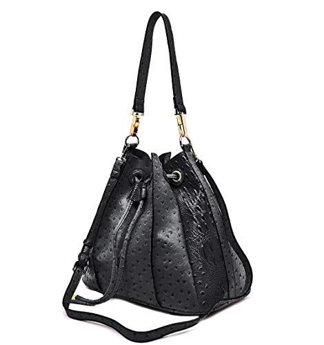 Handbag Republic Ostrich Embossed Pleated Hobo w/Inner Bag Crossbody (Black)