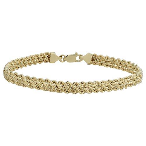 (Kooljewelry 10k Yellow Gold Triple Rope Chain Bracelet (5.75 mm, 7.5 inch))