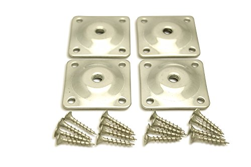 Sofa Leg Plates - Set of 4 Industrial Strength Galvanized Steel Sofa Leg Attachment Plates with 16 screws - Furniture Leg Mounting Plates to attach sofa legs to new/damaged (Galvanized Steel Plate)