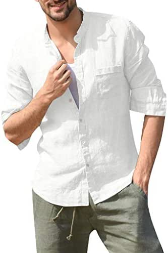 Men's Baggy Cotton Linen Solid Long Sleeve Button Pocket Stand Collar Shirt Tops, MmNote