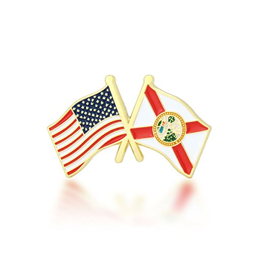 GS-JJ American and Florida State Crossed Friendship Flag Enamel Lapel Pin (1 Piece)