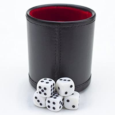 Brybelly GDIC-303 Felt Lined Professional Dice Cup with 5 Dice: Sports & Outdoors