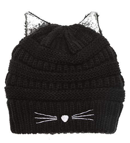 MIRMARU Kids Boys & Girls Winter Soft Warm Knitted Beanie Hat with Faux Fur Pom Pom for Ages 7-12 (Cat Ears - Black)