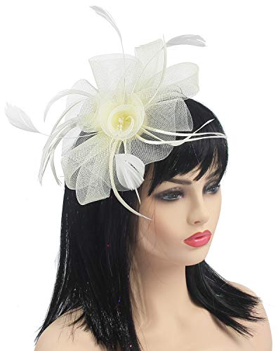 - Fascinator Hats Flower Mesh Feathers Wedding Kentucky Derby Headband Clip Tea Party Cocktail Headwear for Girls and Women (Beige)