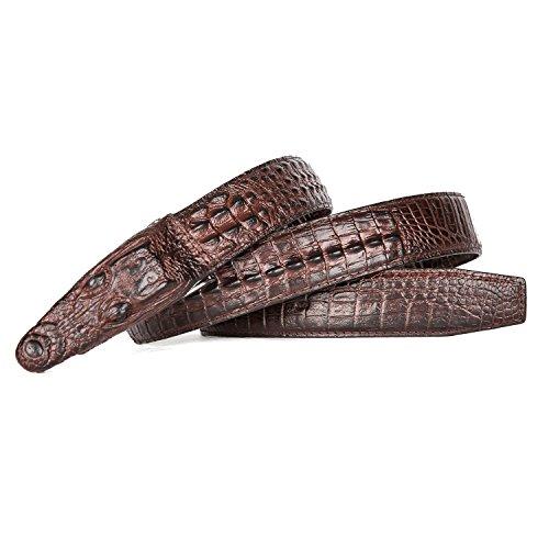 Men's Alligator Head Belt Crocodile Leather Embossed Strap Genuine Leather Belt (Crocodile Embossed Belt)