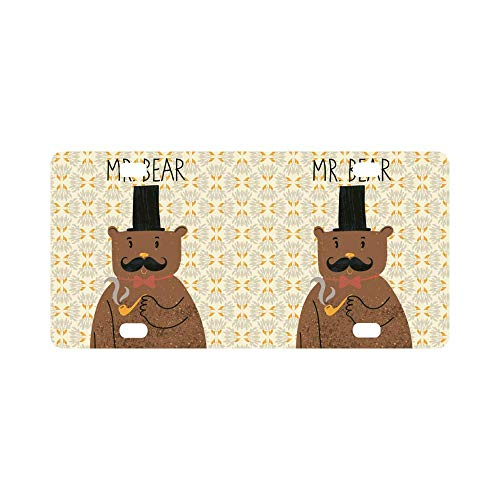 INTERESTPRINT Mr Bear Cute Cartoon in Classical Style Bow-Tie and Mustache Vintage Car Decor Metal License Tag Plate for Woman Man - 12
