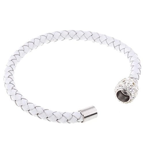 TOOGOO(R) Bracelet Tresse Strass Bijoux Cuir PU Magnetique Femme Cristal Cadeau