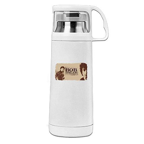 MARC Stainless Steel Vacuum Insulated Travel Mug Bob Dylan Thermal Beverage Bottle White - Kunis Mila Aerosmith