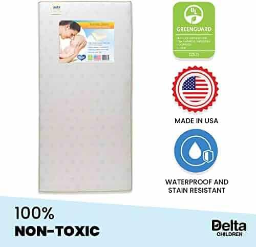 Delta Children Twinkle Stars Fiber Core Crib and Toddler Mattress | Waterproof | Lightweight | GREENGUARD Gold Certified (Natural/Non-Toxic)