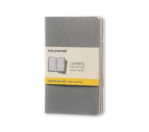 Moleskine Cahier Journal (Set of 3), Pocket, Squared, Pebble Grey, Soft Cover (3.5 x 5.5)