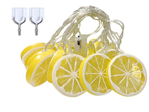 SDOUBLEM Fruit Lemon String Lights 20 LED Battery Operated Lamp Party Holiday Decorations Light for Indoor Home Patio Garden ()