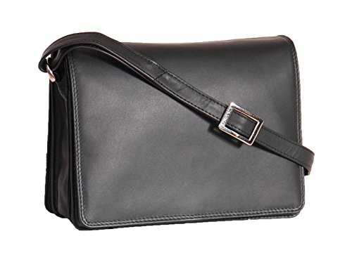 Shoulder Ladies Body Cross Messenger Crete Black Leather Organiser Real Bag AAxawEqZ