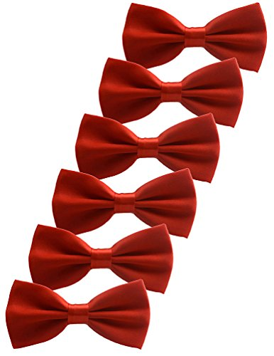 (Udres 6 Pack Solid Bow Tie Satin Pre-tied Bowtie for Wedding Party (One Size, Red))