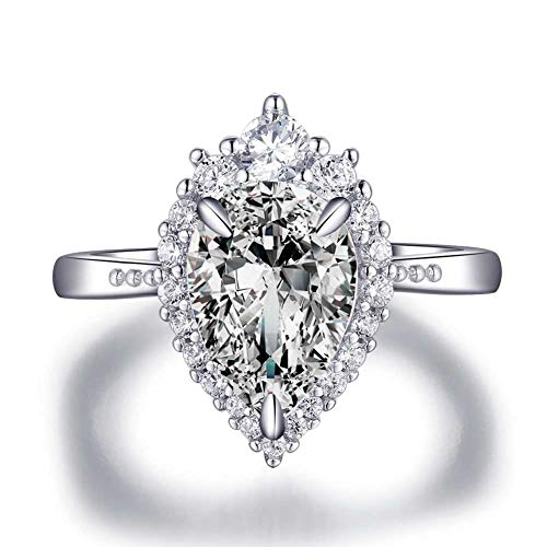 LESFD 2 Carat Pear Cut CZ Cubic Zirconia Halo Engagement Ring