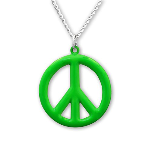 Real Metal Hippie Peace Sign Neon Lime Green Enamel Pewter Pendant Necklace