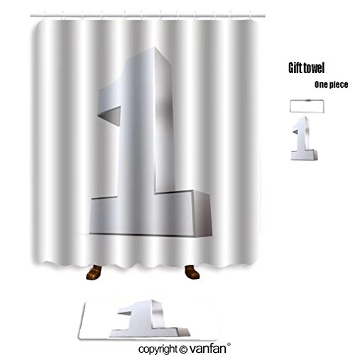 vanfan bath sets with Polyester rugs and shower curtain shiny d number made of silver chrome 35426428 shower curtains sets bathroom 40 x 72 inches&23.6 x 15.7 inches(Free 1 towel - Outfitters Number Order Urban
