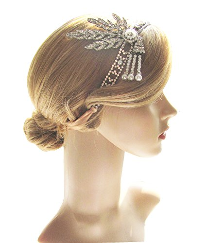 [Art Deco 1920s Flapper Great Gatsby Leaf Wedding Bridal Tiara Pearl Headpiece Headband (A2-Silver)] (The Great Gatsby Costumes To)