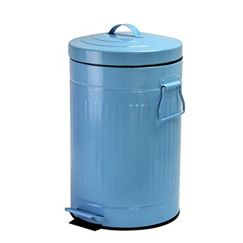 CSQ Bedroom Trash Can, Foot Type Slow Down Silent Circular Home Storage Bucket Household Bathroom with Cover Trash Can Office Paper Basket 5L Indoor (Color : Blue) by Outdoor trash can