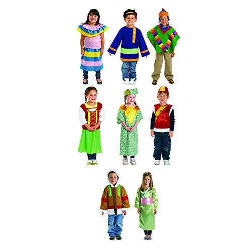 Excellerations Multicultural Deluxe Role Play Around The World Pretend Play, Dramatic Play, Dress-Up Costumes Set of 8 (Item # WORLDSET) -