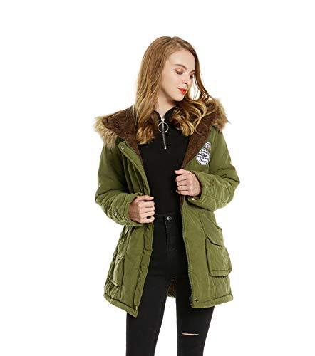 Romance Zone Doudoune Femme Chaud Parka Manteau en Coton Hiver Blouson Fourrure avec Capuche Rembourr Veste Style Militaire Vert