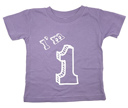 - I'm 1 T-Shirt - One Year Old Birthday Party (12 Month, Lavender)