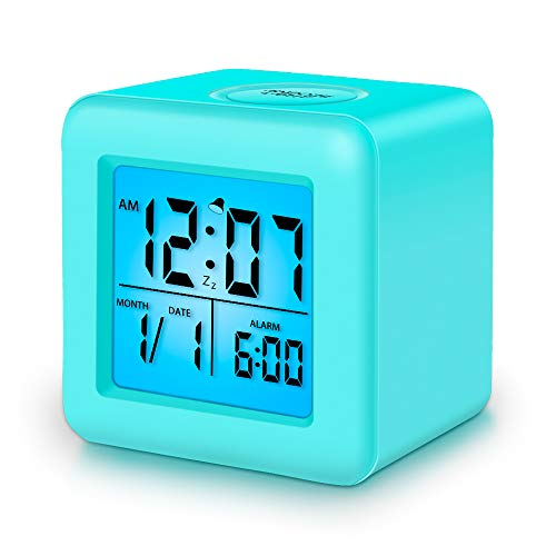 Kids Alarm Clock,3 Inch Digital Clock with Nightlight,Snooze and Date Display,Silent Non-Ticking Battery Operated Decor Clock for Boys Bedroom(Sky Blue)