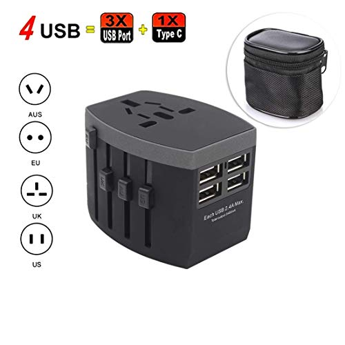 Universal Travel Adapter, QEBIDUL All in One International Power Adapter with Smart High Speed 2.4A 4xUSB, European Adapter Worldwide Wall Charger for UK, EU, AU, Asia Covers 150+Countries (Black)