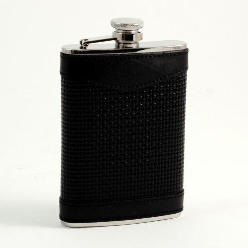 Bey-Berk Stainless Steel/Black Leather Flask (Bey Berk Flask)