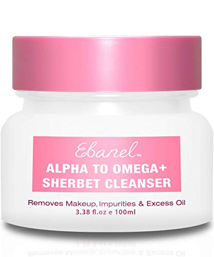 Ebanel Makeup Remover Cleansing Balm Sherbet Cleanser - 1-Step Facial Cleanser as Face Wash Cleanser & Makeup Cleanser - Moisturize Skin with Vitamin C, Peptide, Plant Stem Cell Extracts, Mineral Oil