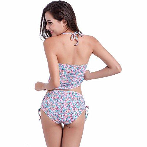 SHISHANG La Sra bikini de cintura alta dividida traje de baño de gran tamaño de Europa y los Estados Unidos suave de alta elasticidad b hidden blue and white