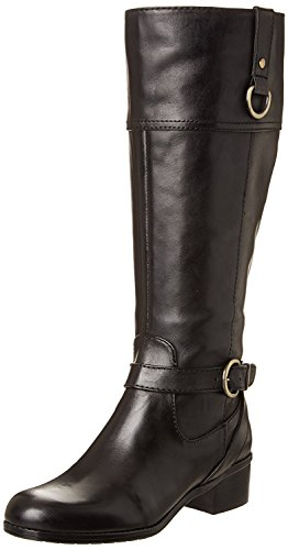 Bandolino Womens Chamber Wide Calf Riding Boot ,Black Leather,5 M (Bandolino Leather Platforms)