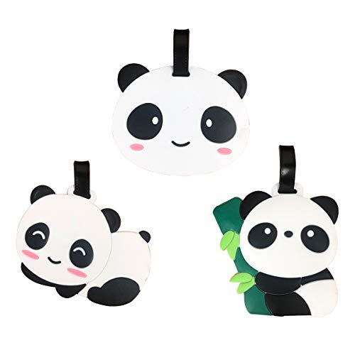 Luggage Tag Cute Cartoon Panda Silicone Travel Suitcase Labels Kawaii School Bag Tags - Set of 3 (3PCS Panda Luggage Tags)