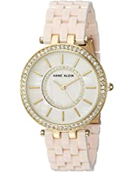 Anne Klein Womens AK/2620LPGB Swarovski Crystal Accented Gold-Tone and Blush Pink Resin Bracelet Watch