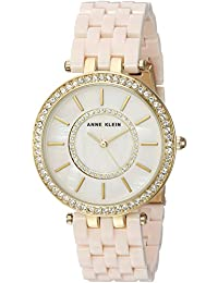 Women's AK/2620LPGB Swarovski Crystal Accented Gold-Tone and Blush Pink Resin Bracelet Watch