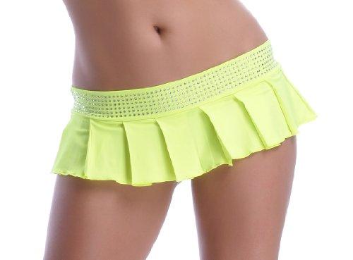 POLY Minifalda plisada, con tira de brillantes Amarillo Neón