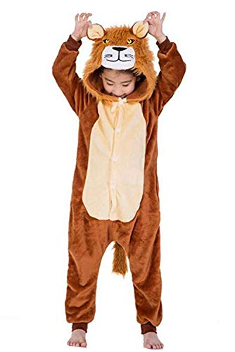 JXUFUFOO Kids Unisex Cosplay Pajamas Onesie Lion Costume for Size 6 Size 7 Size 8,Lion,6-8 Years Old]()