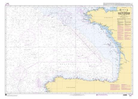 SHOM Chart 7211: Golfe de Gascogne - De Brest a Cabo, 33 x 47 inches, Water-Resistant - Cabo Golf